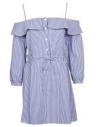 Jovonna Cold Shoulder Dress - Blue Stripe