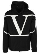 Valentino Vlogo Print Hooded Jacket - BLACK
