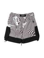 Araia Kids Teen Checked Shorts - Bianco/nero