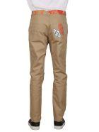 Versace Slim-fit Logo Print Trousers - Beige