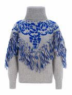 Sacai Fringed Jumper - GREY BLUE