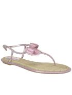 René Caovilla Thong Sandals With Bow Detail - Pink