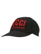 Gucci Embroidered Baseball Hat - BLACK/RED
