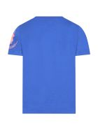 Save the Duck Blue T-shirt For Kids With Writing - Blue