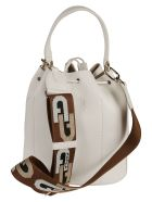 Furla Small Sleek Drawstring Logo Detail Bucket Bag - White