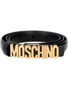 Moschino Logo Buckle Leather Belt - black
