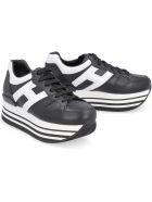 Hogan Leather Platform Sneakers - black