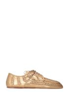 Prada Metallic Leather Lace-up Shoes - Gold