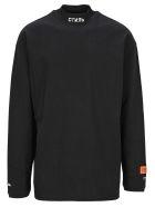 HERON PRESTON Turtle Neck Long Sleeves T-shirt - BLACK WHITE