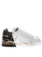 Dolce & Gabbana White And Black Portofino Sneakers In Leather - White/black