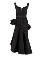 Alexander McQueen Asymmetric Midi Denim Dress - black
