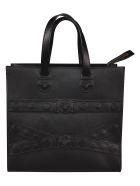 Versace Mudusa Strap Embossed Tote - Black