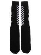 Off-White Off White Diag Mid Socks - BLACK + WHITE