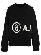 MM6 Maison Margiela Mm6 Oversize Logo Print Sweatshirt - BLACK