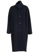 Issey Miyake Coat S/s High Neck Fantasy - Navy