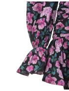 Giuseppe di Morabito Black Floral Short Dress With Off Shoulders - Flora midnight