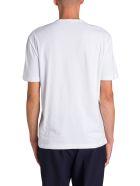 Moncler T-shirt Girocollo A Maniche Corte Logo Floccato Frontale - Bianco