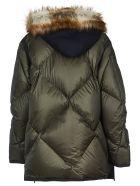Sacai Fur Hood Down Jacket - Green/Blue