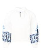 Stella Jean White Blouse For Girl With Ethnic Prints - White
