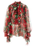 Dolce & Gabbana Dolce&gabbana Geranium Print Chiffon Blouse - GERANIUM PRINT
