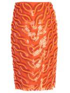 SEMICOUTURE Skirt Franci Pencil Paillettes - Tiger Orange