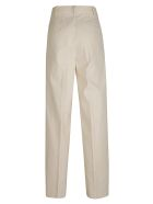 Tory Burch Canvas Pleated Trousers - Natural