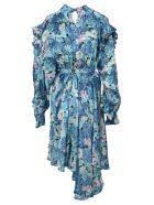 Balenciaga Floral Belted Ruffled Dress - BLUE FLOWER