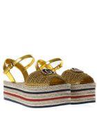Gucci Gold Espadrilles Platfrom Sandals - Gold