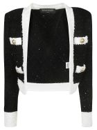 Balmain Cropped Jacket - Black/White