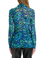 Ganni Floral Top In Stretch Tulle - Azzurro