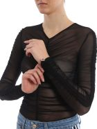 GCDS Ruched Top - Black