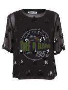 McQ Alexander McQueen Embellished Sheer Top - Black Multi