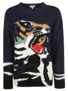 Kenzo Tiger Knit Pullover - blue