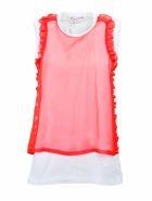 Comme Des Garçons Girl Ruffled Trim T-shirt - White Red