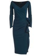 La Petit Robe Di Chiara Boni Dress L/s V Neck W/side Drape - Petrol Blue