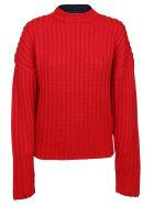 Jil Sander Navy Cable Knit Sweater - Red/navy