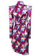 Giuseppe di Morabito Blue Stretch Silk Floral Print Dress - Fiori