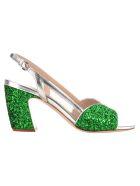 Miu Miu Glitter Sandals - GLITTERED GREEN + SILVER
