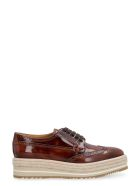 Prada Leather Brogues Lace-up Shoes - brown
