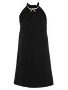 Miu Miu Bow Embellished Mini Dress - BLACK
