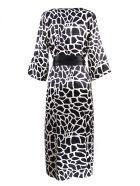Federica Tosi Monochrome Silk-blend Patterned Dress - Bianco+nero