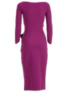 La Petit Robe Di Chiara Boni Dress Boat Neck W/faux Leather Belt - Vino
