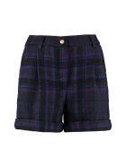 Jucca Cuffed Tartan Wool Shorts - blue