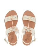 Ancient Greek Sandals Kriti White Leather And Metal Sandal - BIANCO