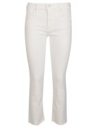 Mother White Cotton Blend Jeans - CREAM