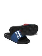Prada Linea Rossa Graphic Logo Pool Slides - Bluette multicolor