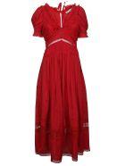 self-portrait 3d Plumetis Midi Dress - Dark Red
