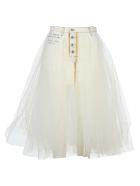Ben Taverniti Unravel Project Unravel Tulle Layered Denim Skirt - WHITE + WHITE
