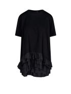 Alexander McQueen Flounced Bottom Oversized T-shirt - Nero