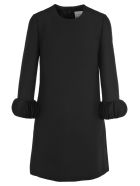 Valentino Ornamental Sleeve Dress - BLACK